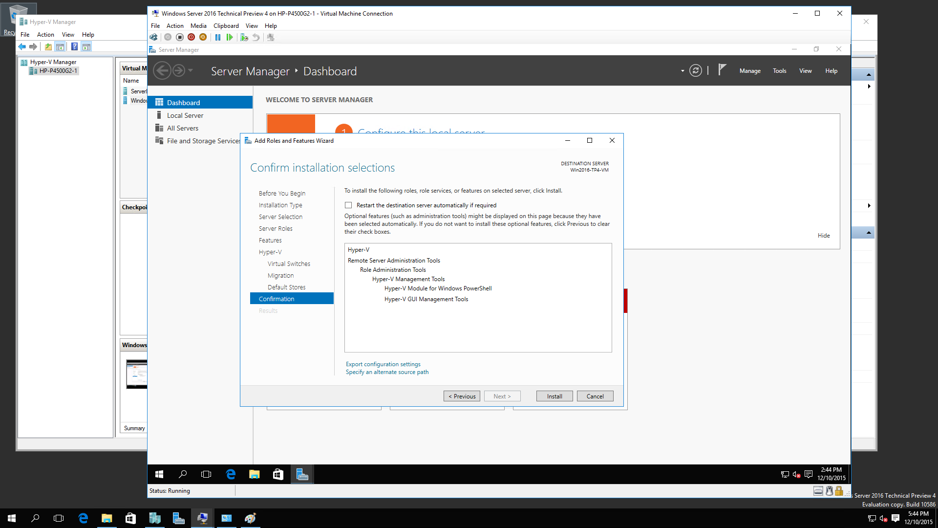 Windows 2016 R2 TP4 Nested Virtualization 10