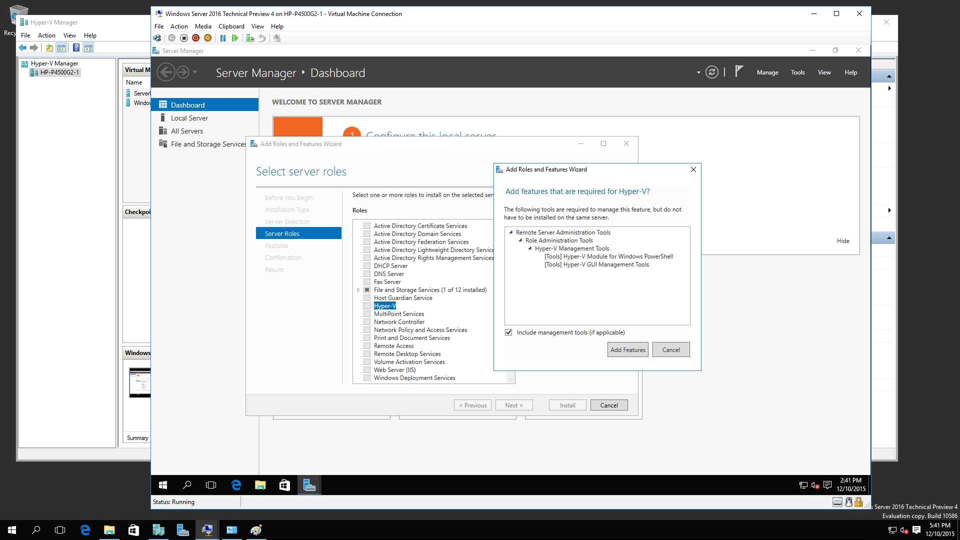 Windows 2016 R2 TP4 Nested Virtualization 2