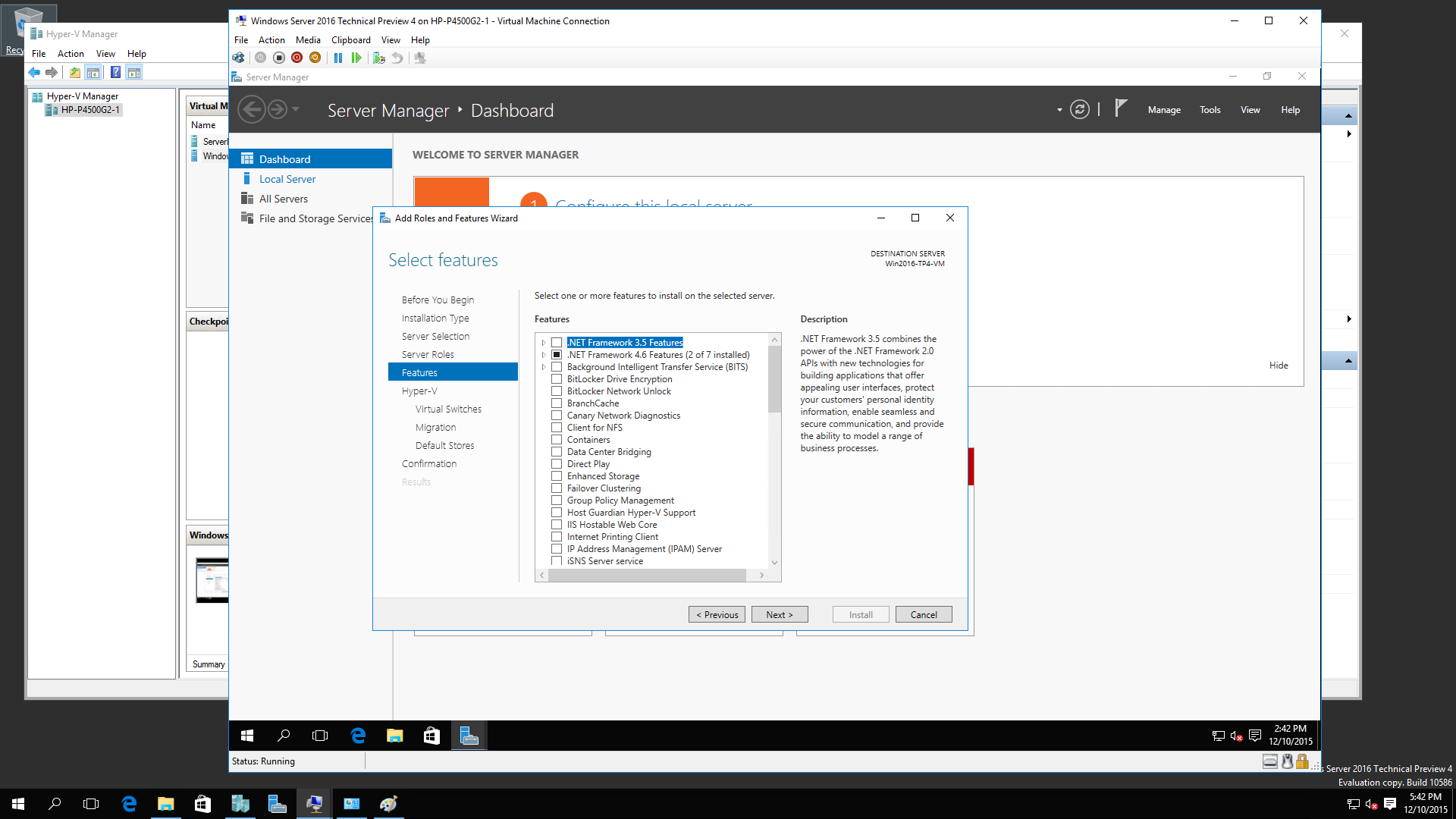 Windows 2016 R2 TP4 Nested Virtualization 4